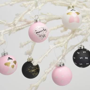 Toin caixa 6 bolas natal rosa/preto