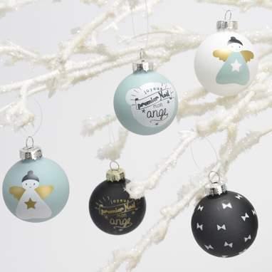 Puge set 6 blue/black christmas balls