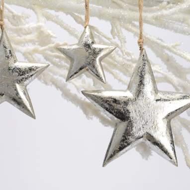 Alise set 3 hanging wood stars