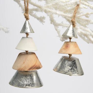 Weny set 2 hanging wood christmas trees