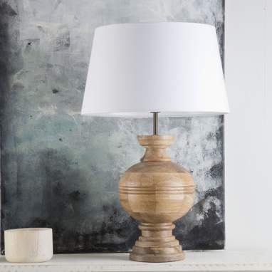 Maty wood/linen table lamp