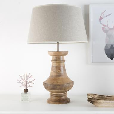 Kana beige shade wood lamp