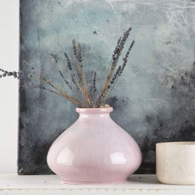 Otyj jarron porcelana rosa h17