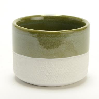 Zet macetero verde/blanco