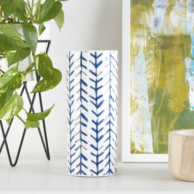 Jali vase lignes bleues h24