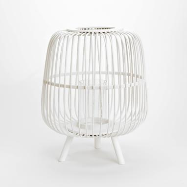Geew oval white lantern candleholder
