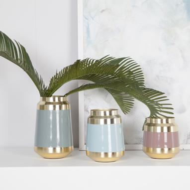 Logy set 3 metal vases