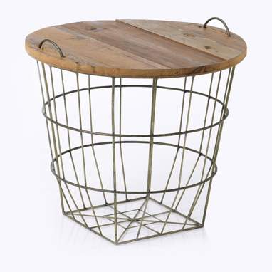 Kagin metal/wood basket table