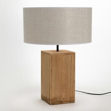 Tuxa white shade wood lamp