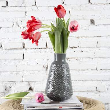 Very vase gris évantail