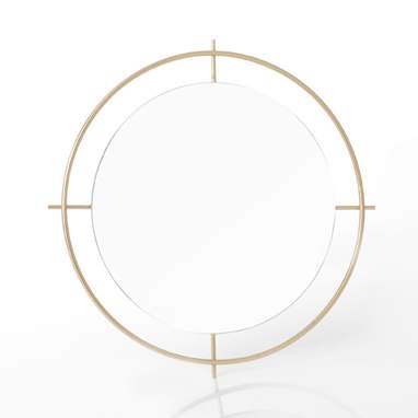 Lotu gold round mirror