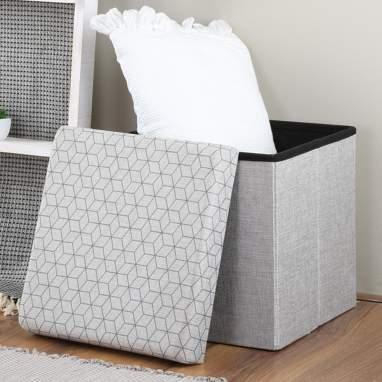 Nimbe scatola-pouf pieghevole grigio chiaro