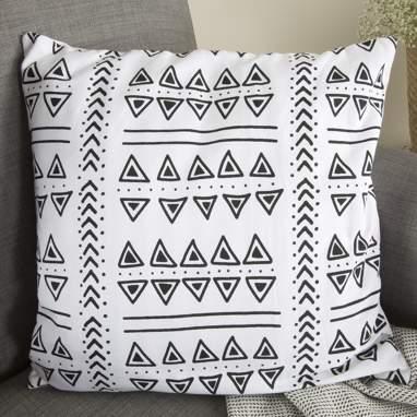 Hunn cojin azteca negro-blanc o 45x45