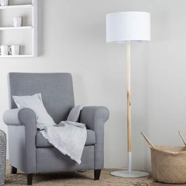 Biot lampara de pie madera-metal blanca