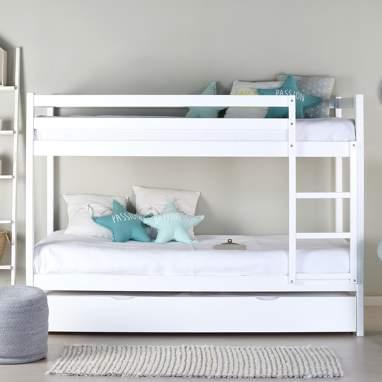 Nyasa lit gigogne blanche avec tiroir