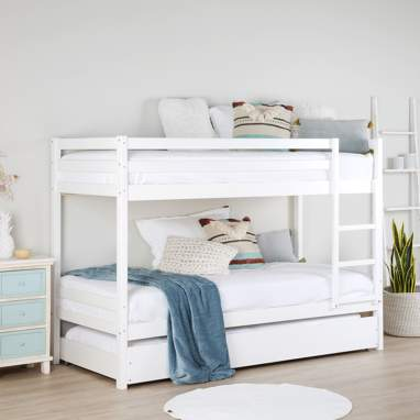Kivu white bunk bed with trundle bed