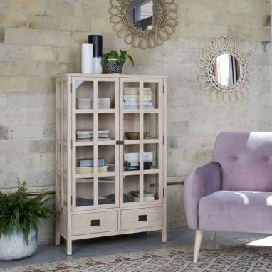 Saskia narrow sand glass cabinet