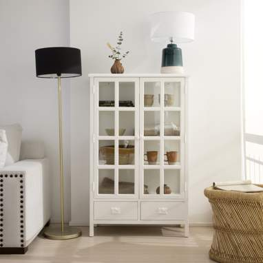 Saskia narrow white glass cabinet