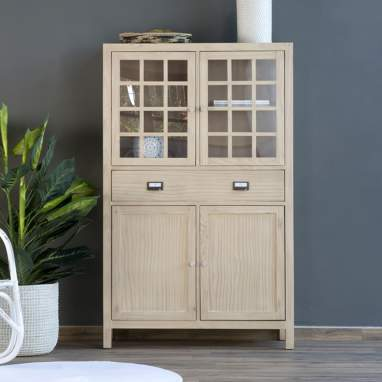Yuba narrow sand glass cabinet
