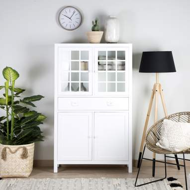 Yuba narrow white glass cabinet