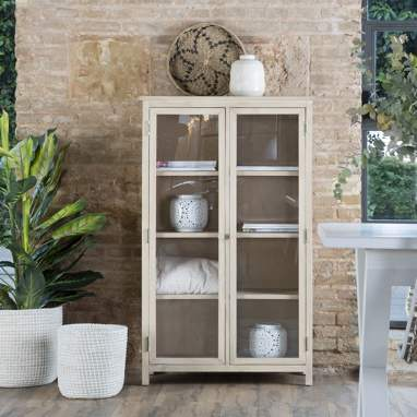 Emile narrow sand glass cabinet