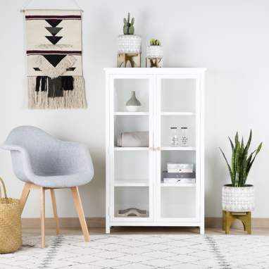 Emile narrow white glass cabinet