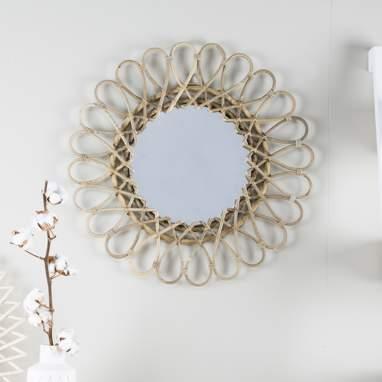 Aik grey rattan mirror