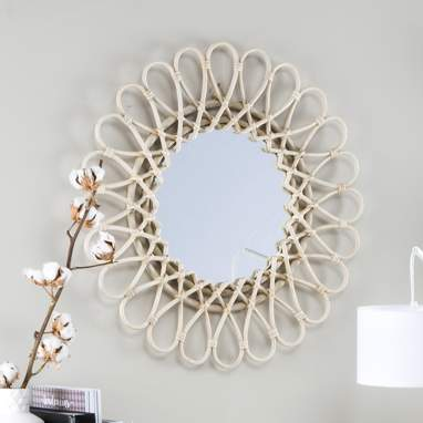 Aik natural grey rattan 60d mirror
