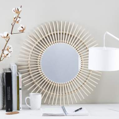 Ike natural rattan mirror
