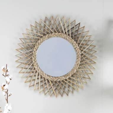 Angle grey rattan mirror