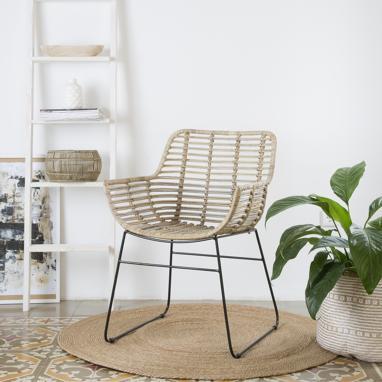 Grey rattan armchair oriass