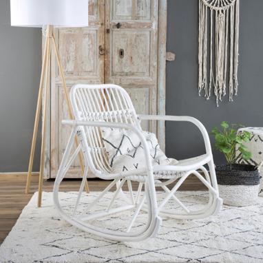 Kona fauteuil à bascule rotin blanc wash