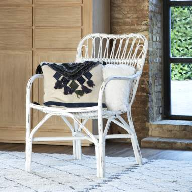 Paul white wash rattan armchair