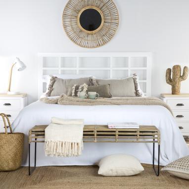 Ubud pie de cama / mesa auxiliar ratán gris