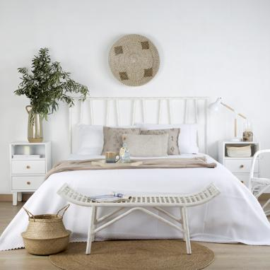 Mine wash white ratan headboard