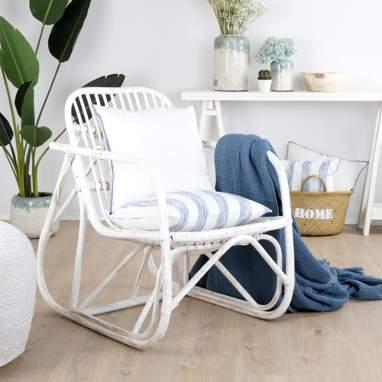 Klaus fauteuil rotin blanc wash