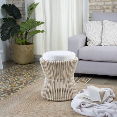 Pih footstool with cushion/natural auxiliar table