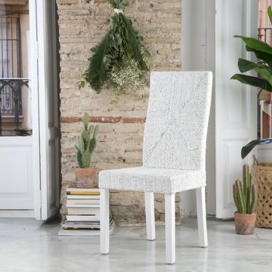 Acra antique-style finish white ratan chair