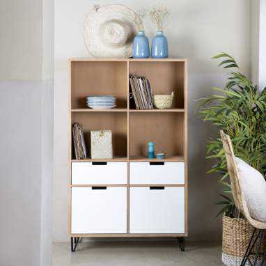 Vrena natural/white glass cabinet