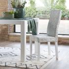 Round abaca chair white distressed